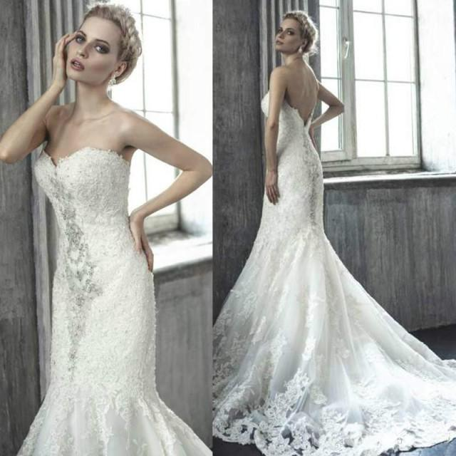 Sexy Mermaid Wedding Dresses Sweetheart Lace Applique
