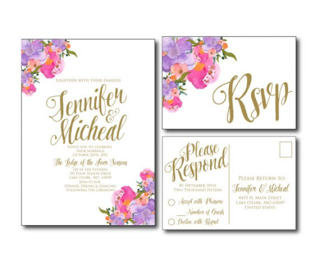 Wedding Invitations With Postcard Response Cards: Romantic Floral Wedding Invitation