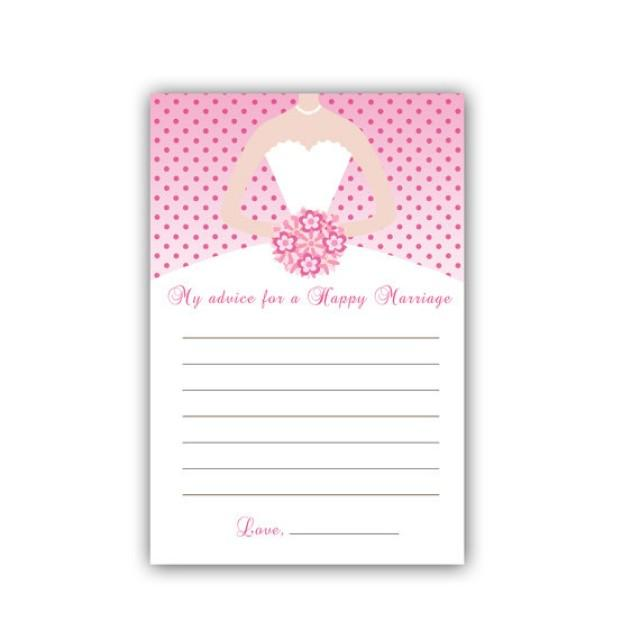 424978d11e26 INSTANT DOWNLOAD - Printable Pink Polka Dots Bridal Shower Advice Cards - White  Bridal Dress Bridal Shower Items Bridal Shower Activity