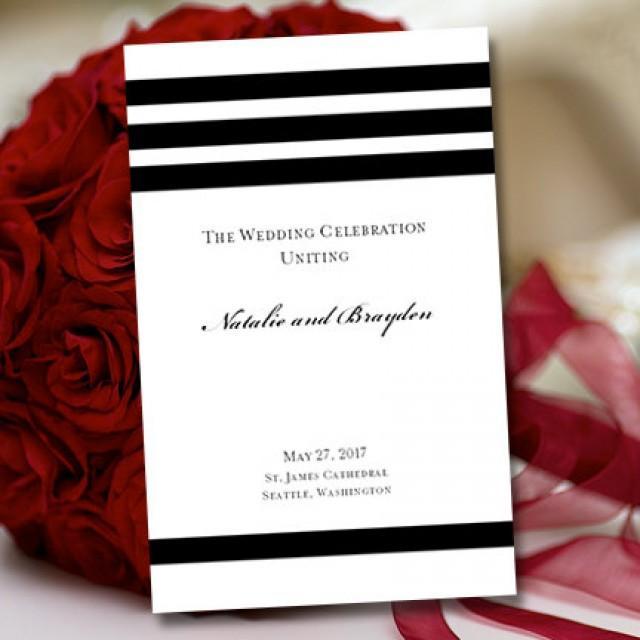 Wedding Program Template Black White Simply Stripes 2309675