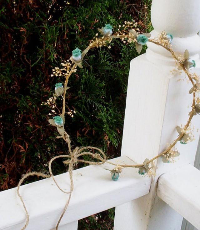 Dried Flower Crown Alli Blue Aqua Teal Headwreath Babys