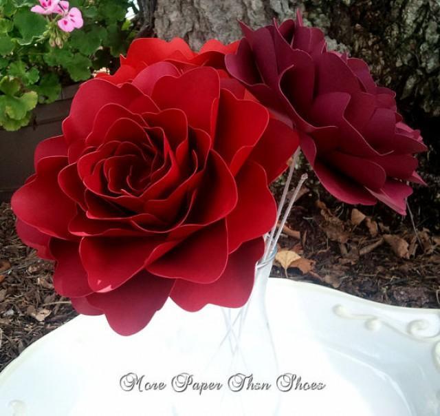 Paper Flowers Stemmed Wedding Flowers Table Decor X Large