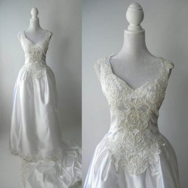 Vintage wedding gown white satin wedding dress 1980 for Vintage satin wedding dresses