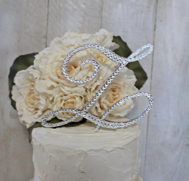 5 Monogram Wedding Cake Topper Initial In Swarovski Crystals Any Letter A B C D E F G H I J K L M N O P Q R S T U V W X Y Z 2309831
