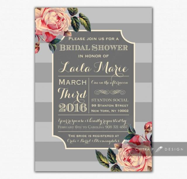 Kitchen Tea Background: English Rose Bridal Shower Invitation