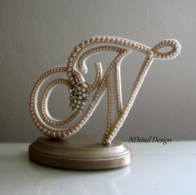 wedding cake topper custom monogram letter n custom vintage ivory pearl and rhinestone brooch