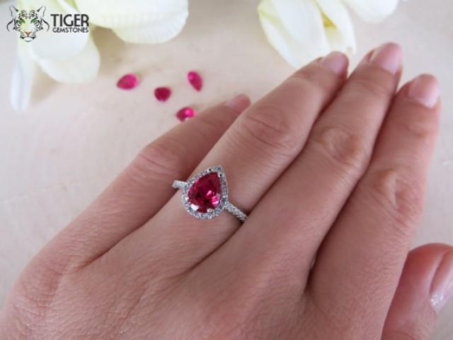 Silver Ring With Ruby Stone In Pear Cut