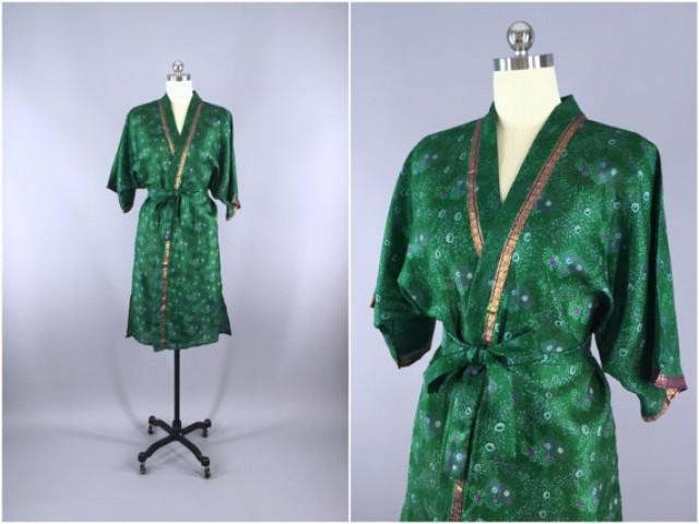 Silk Robe / Silk Sari Robe / Silk Kimono Robe / Vintage Indian Sari ...