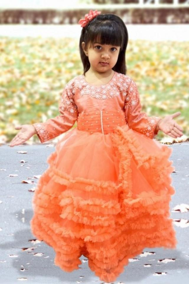 3c34560ad Beautiful Peach Color Multi Layered Gown for Indian Girl with Intricate  Pearl Work