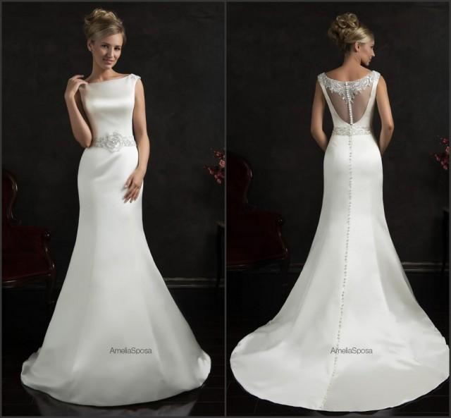 2015 Designer Wedding Gowns: Bright 2015 Spring Mermaid Wedding Dresses White Satin