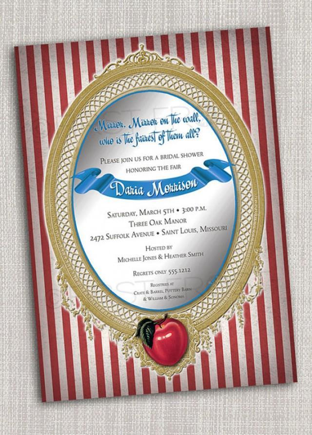 Vintage Fairy Tale Mirror Apple Snow White Printable Invitation