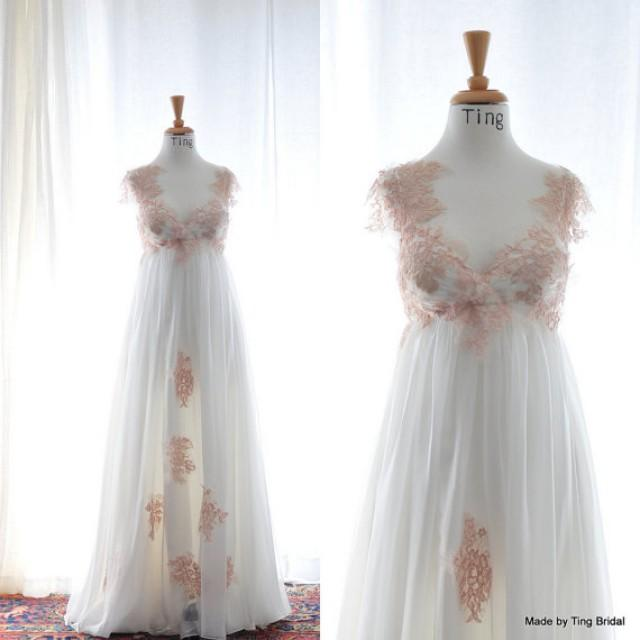 April Pink White Vintage Lace Fairy Wedding Dress Custom