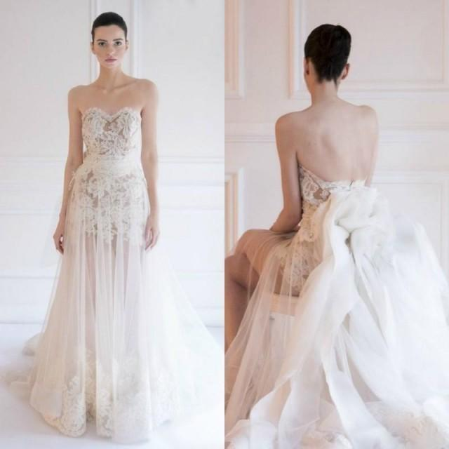 Hot selling wedding dresses 2015 maison yeya a line for Strapless wedding dresses with long trains