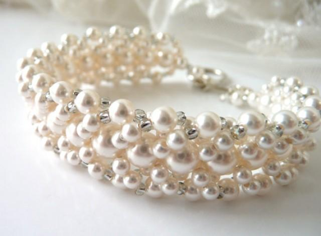Pearl Bridal Bracelet White Or Ivory Bridal Jewelry Cuff