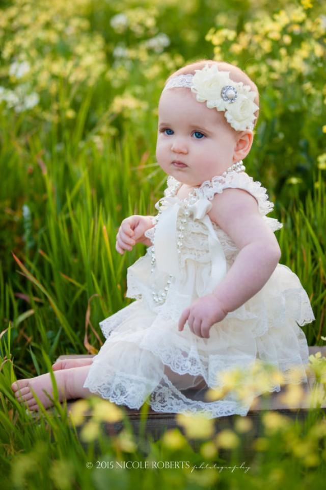 Ivory Vintage Lace Dress Girls Photo Shoot Baby Lace