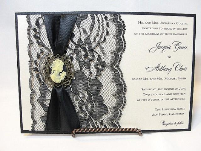 Lace Wedding Invitation Invite Lady Cameo InviteVICTORIA