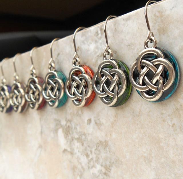 Irish Wedding Gift Ideas: Celtic Knot Wedding Earrings, Bridal Dangle Earrings