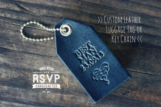 Custom Personalized Leather Luggage Tag, Best Man Key