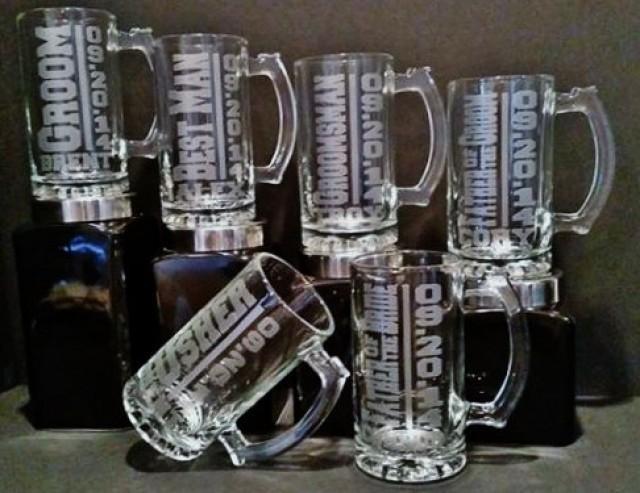 6 Glasses Groomsman Glass Set Of 6 Personalized