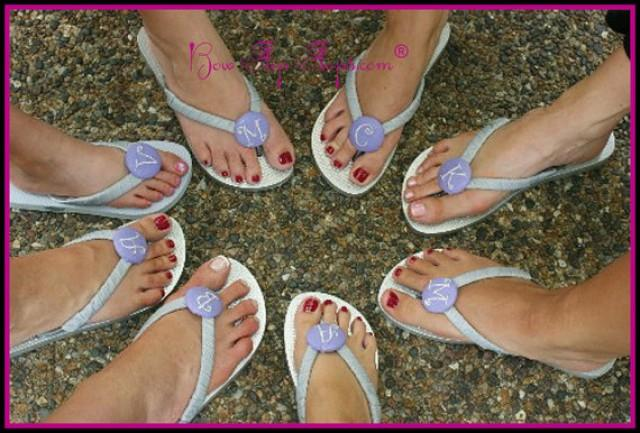 Bridesmaid Flip Flops Wedding Bow Monogrammed Personalized Initial ...