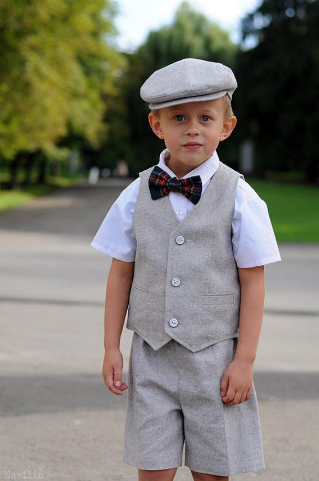 Toddler Ring Bearer Outfit Baby Boy Dress Clothes Grey Hat Vest And ...
