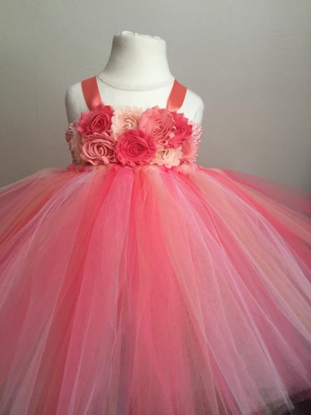 Coral And Peach Flower Girl Dress Girls Tulle Dress