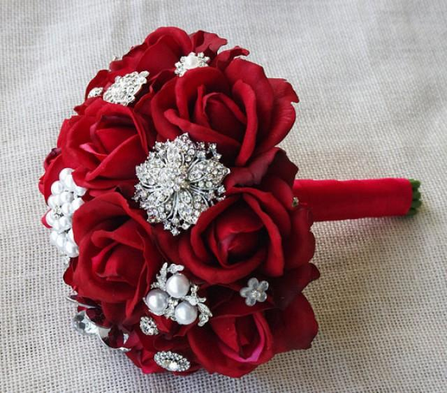 Silk Red Brooch Wedding Bouquet Natural Touch Roses And