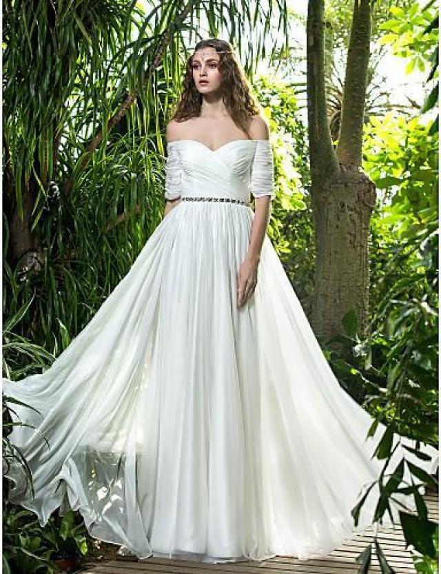 Princess 2015 a line wedding dresses off the shoulder for Off the shoulder chiffon wedding dress