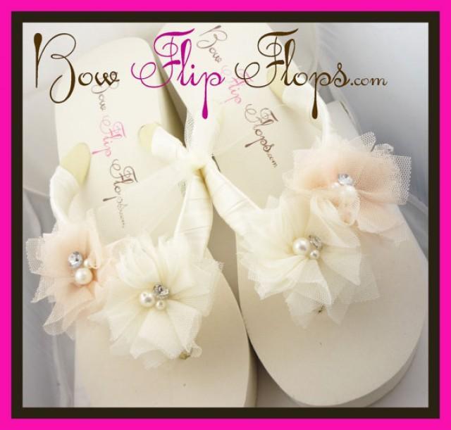 aa0ccb919b6f8 Ivory Wedge Flip Flops Ivory Flip Flops Bridal Flip Flops Wedding Flip Flops  White Bow Platform Rhinestone Satin Bride heel bridesmaids gift