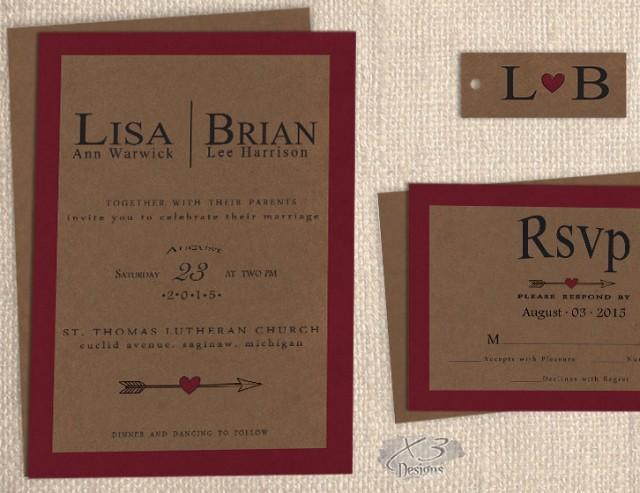 Rustic Wedding Invitation Sets: Printable Fall Rustic Wedding Invitation Set, DIY Natural
