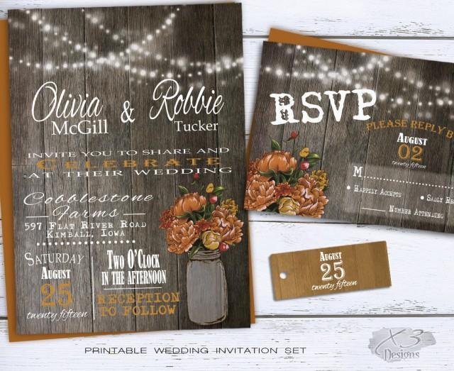 Rustic Fall Wedding Invitations: Rustic Fall Wedding Invitation #2316233