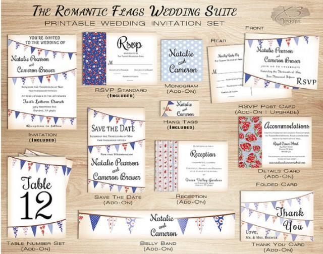 Rustic Barn Wedding Invitation Set, Printable Country Wedding Invitation W/  Bunting Flags For Summer   Red And Blue, DIY #2316234   Weddbook