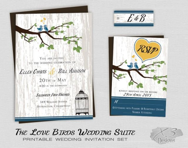 Bird Wedding Invitation: Rustic Country Wedding Invitation, Printable Love Birds