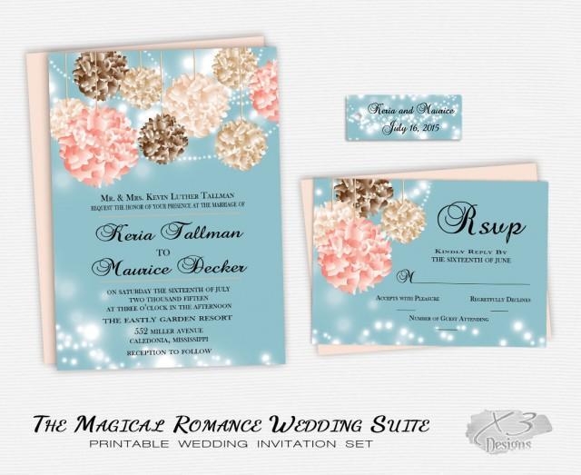 DIY Flower Wedding Invitation Whimsical Wedding Invite