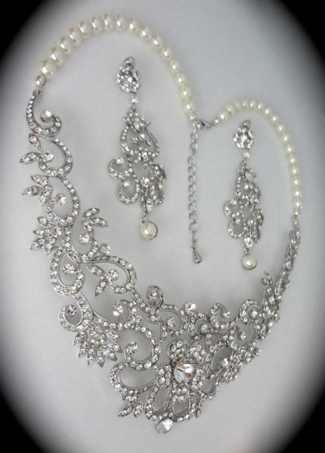 Bridal Jewelry Set Rhinestone And Pearl Necklace And