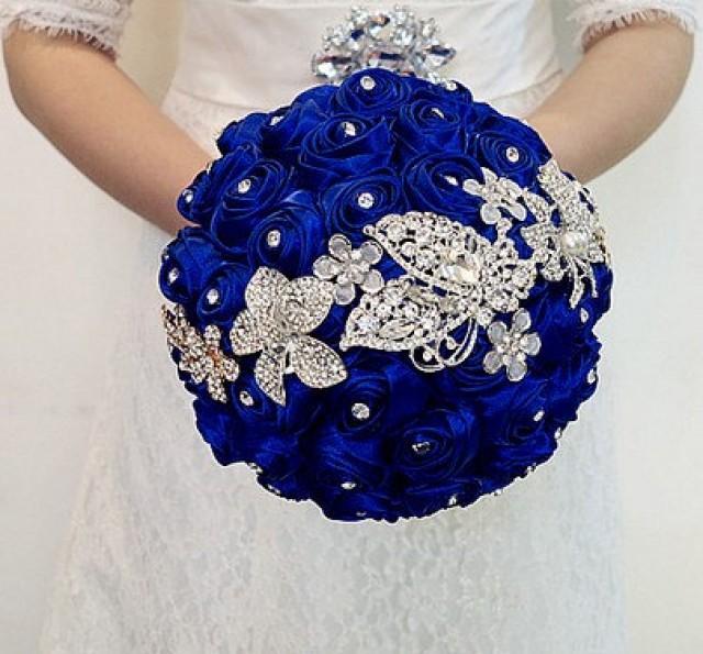 Blue Bridal Bouquet Blue Rose Wedding Bouquet Stain Rose Brooch Bouquet Jewelry Wedding