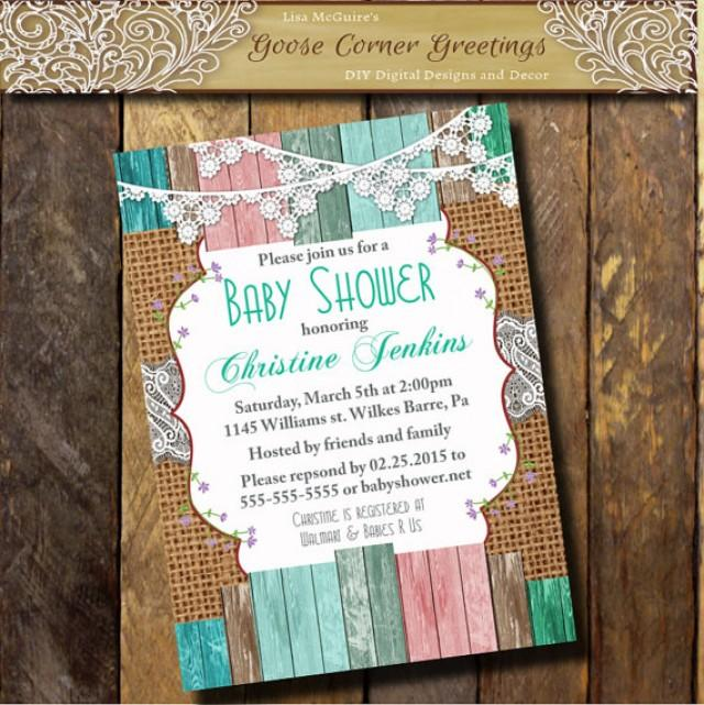 Burlap Baby Shower Invitation Brunch Lace Wood Rustic
