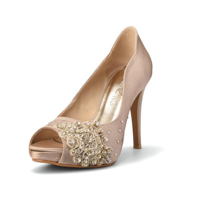 Champagne Wedding Heels Diamante Shoes Swarovski Diamonds Bridal High Heel 2316814