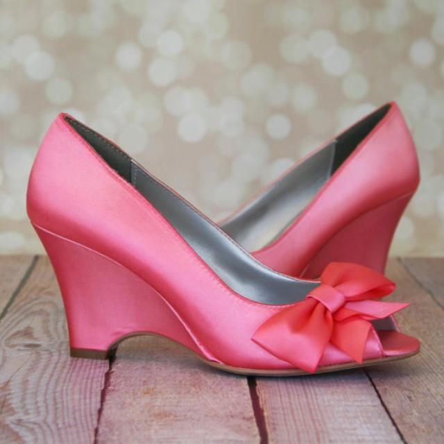 Wedge Wedding Shoes Pink Coral Peep Toe With Off Center Matching Bow On The 2316842