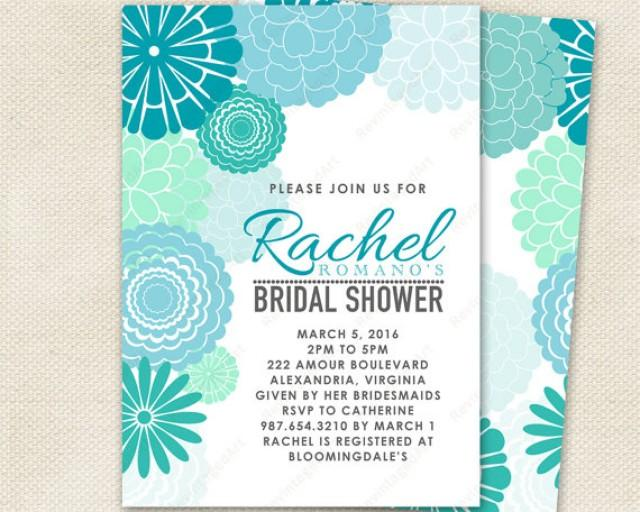 Wedding Invitations Turquoise: Turquoise & Mint Bridal Shower Invitation With Mod Floral