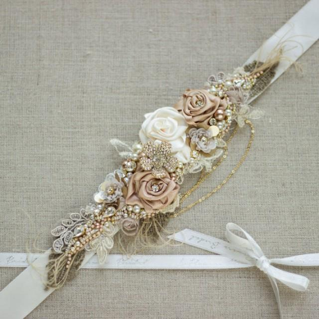 Wedding Favor Ideas: Bridal Sash, Burlap Rustic Gold Blush Rose Tan Champagne