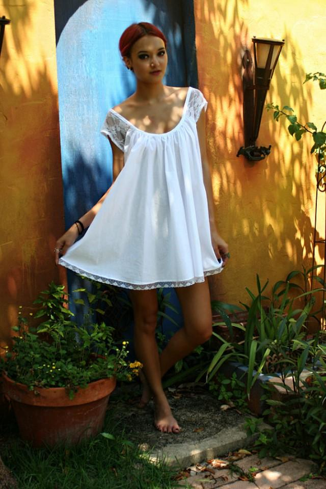 White Cotton Baby Doll Nightgown Shabby Chic Full Swing