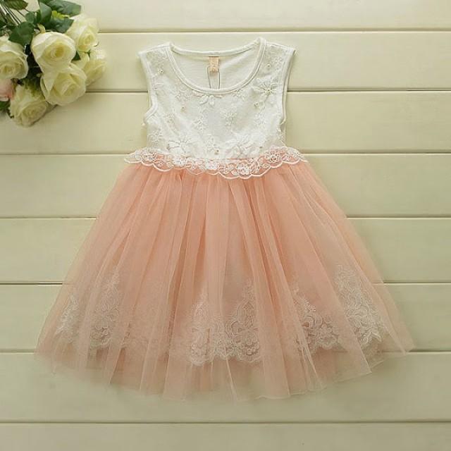 1b998e4ca Blush Pink & Ivory Tulle Lace Girl Dress - flower girl wedding dress,  wedding tulle dress, lace flower girl dress, baby girl birthday dress