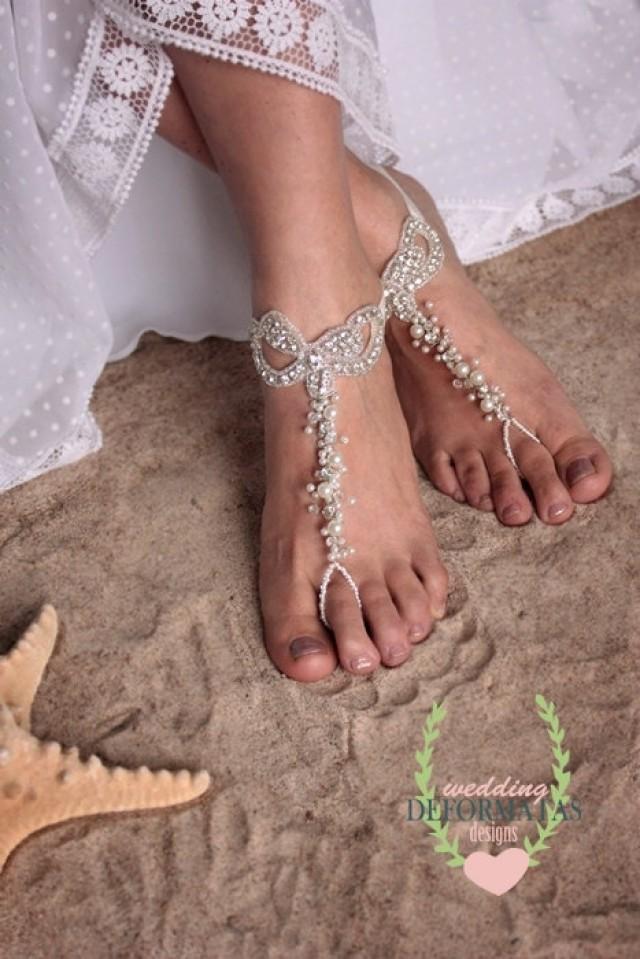 Beach Wedding Foot Jewelry ThongBare Sandals Bridal JewelryPearl And Rhinestone Shoes Bohemian Barefoot 2318093