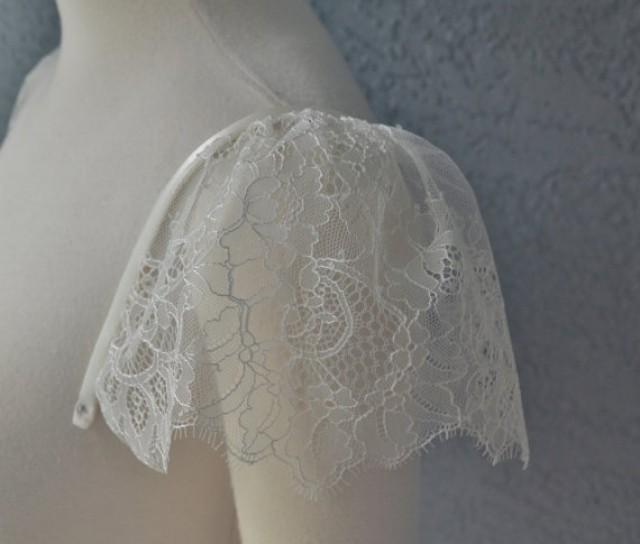 Detachable Ivory Chantilly Lace Straps Cap Sleeves To Add