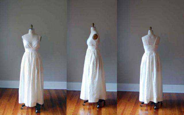 Simple Ivory Wedding Dress In Pure Linen / Empire Waist