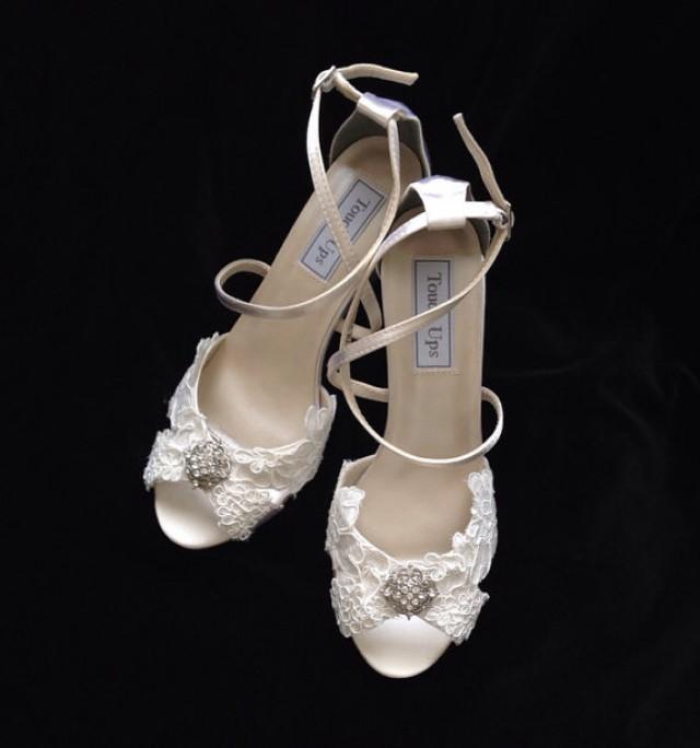 Alencon Lace Bridal Wedding Wedge Heels 3