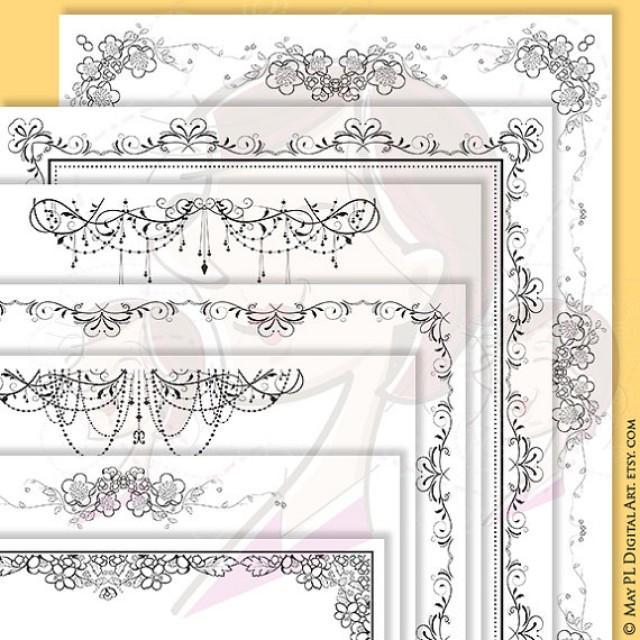 Digital Page Border 8x11 Flourish Swirls Orange Blossoms Chandelier Diy Wedding Invitation Stationery Certificate Doent Clipart Set 10361