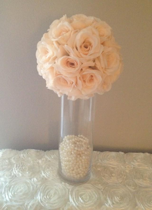 Premium Soft Silk Peach Blush Flower Ball Wedding Centerpiece