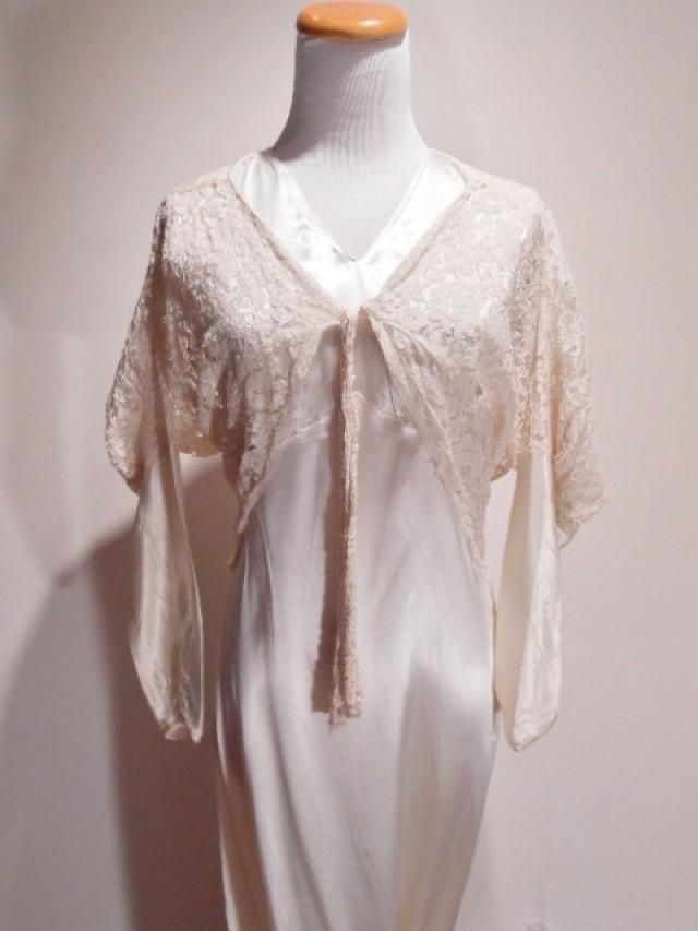 Jean Harlow Hollywood White Rayon Satin Bias Cut Peignoir Lingerie ...